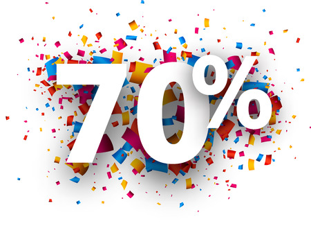 extra money: 70% sale sign with colour confetti. Vector paper illustration.