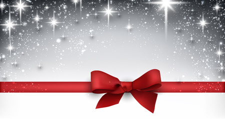 red ribbon bow: Elegant starry christmas banner with red bow. Vector Illustration with snowflakes and place for text.