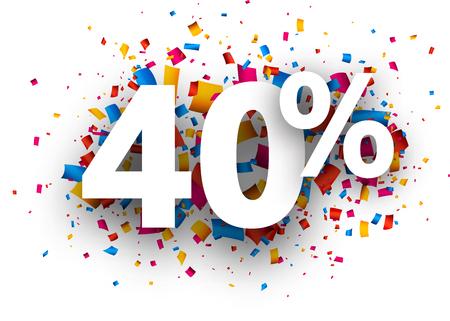 40: 40% sale sign with colour confetti. Vector paper illustration.