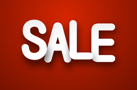 special offer: White sale sign over red background. Vector illustration.