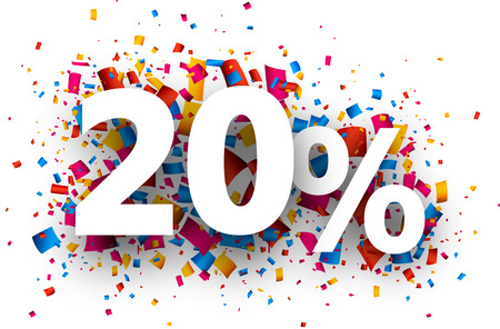 extra money: 20% sale sign with colour confetti. Vector paper illustration.