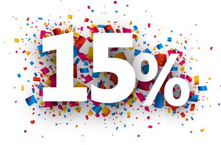 discounts: 15% sale sign with colour confetti. Vector paper illustration. Illustration