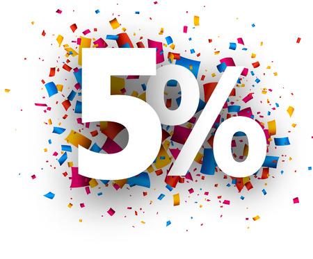 stimulation: 5% sale sign with colour confetti. Vector paper illustration.