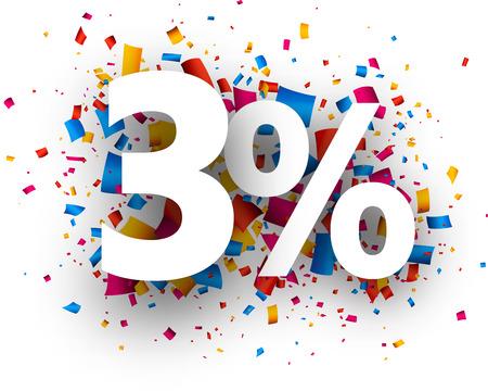 christmas profits: 3% sale sign with colour confetti. Vector paper illustration. Illustration