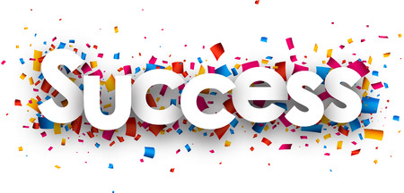 great success: Success with colour confetti. Vector paper illustration.
