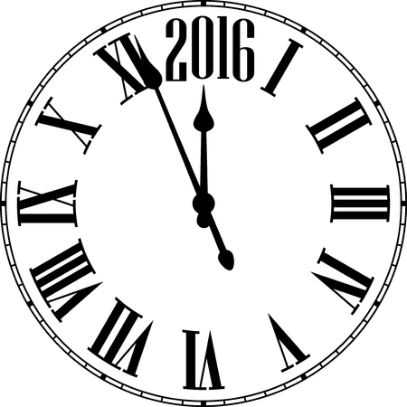 clock: Old clock with roman numbers. Happy 2016 year. Vector illustration.
