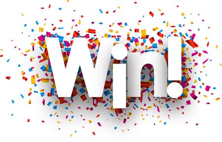 triunfador: Win firmar con confeti de color. Vector de papel ilustración.