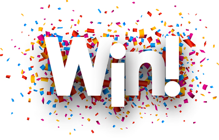 winning idea: Win sign with colour confetti. Vector paper illustration.