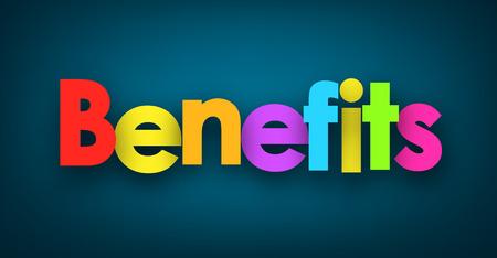 fringe benefit: Benefits sign on blue background. Vector paper illustration. Illustration