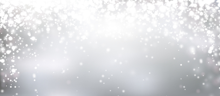 Silver winter abstract background. Christmas background with snowflakes and place for text. Vector. Çizim