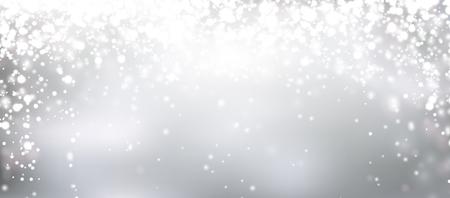 Zilveren winter achtergrond. Kerst achtergrond met sneeuwvlokken en plaats voor tekst. Vector. Stock Illustratie