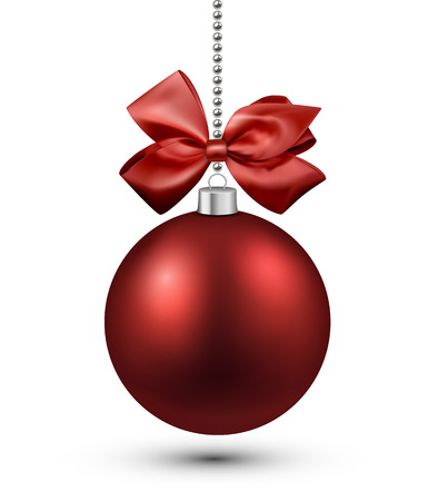 red bow: Red christmas bauble with bow. Vector illustration.