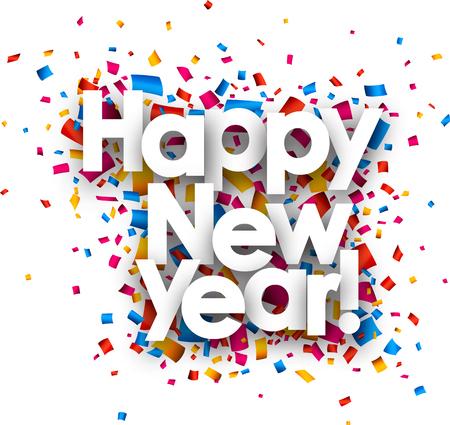 nowy rok: Szczęśliwego nowego roku z kolorowym konfetti. Wektor papieru ilustracji.