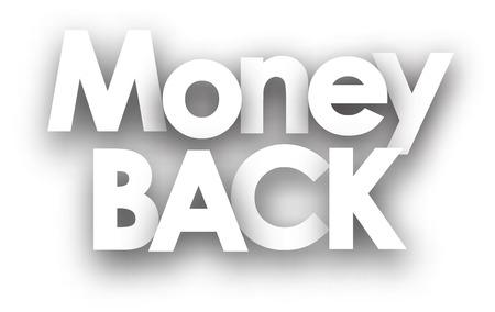 bail: Money back sign in black and white. Vector illustration.