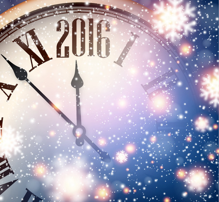 over: Vintage clock over snowfall christmas background. 2016 New year vector illustration.