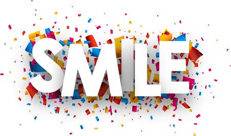smiles: Smile sign with colour confetti. Vector paper illustration.
