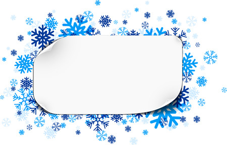 papel de notas: Nota de papel blanco con copos de nieve azules. Ilustración del vector.