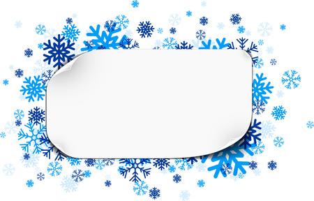 papel de notas: White paper note with blue snowflakes. Vector illustration.