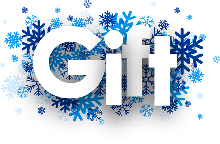 december holidays: Gift sign with snowflakes. Vector illustration.