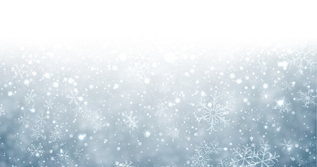 Winter background with snowflakes and place for text. Christmas blue defocused illustration. Eps10 vector.