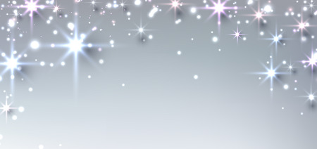 shining star: Elegant starry christmas banner with snowflakes and place for text. Vector Illustration.