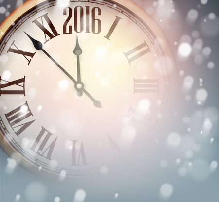 vintage clock: Vintage clock over snowfall christmas background. New 2016 year vector illustration.
