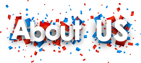 About us sign with colour confetti. Vector paper illustration.