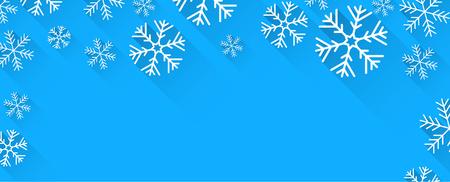 copo de nieve: Bandera abstracta del invierno con los copos de nieve de papel planas y lugar para el texto. Ilustraci�n del vector.