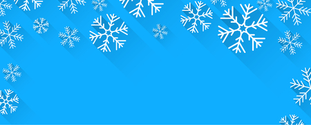 winter vector: Winter abstract banner with flat paper snowflakes and place for text. Vector illustration.