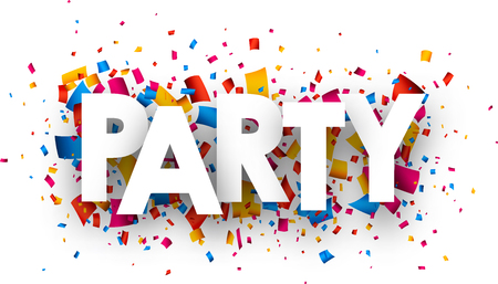 nigth: Party with colour confetti. Vector paper illustration.