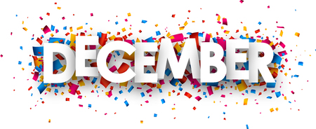 December sign with colour confetti. Vector paper illustration.