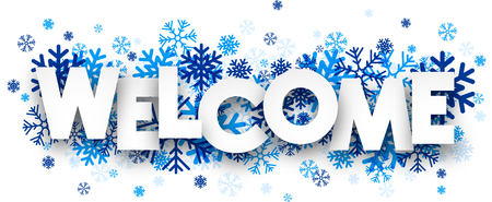 bienvenida: Bienvenido firmar con los copos de nieve. Ilustración del vector.
