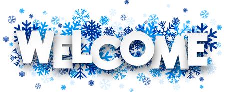 Vítejte podepsat s sněhové vločky. Vektorové ilustrace.