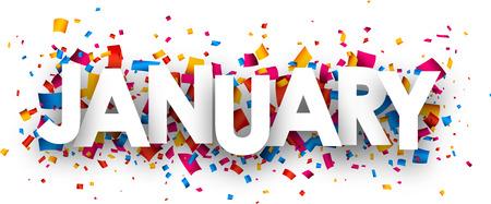 enero: se�al de enero con confeti de colores. Vector ilustraci�n de papel.