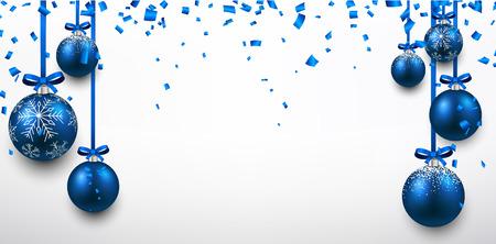 muerdago navideÃ?  Ã? Ã?±o: Bandera elegante abstracto con bolas de Navidad azules y confeti. Ilustración del vector con el lugar de texto.