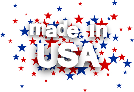 blue star: Made in USA sign on star background. Vector Illustration.