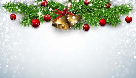 fond de texte: fond d'hiver avec des brindilles d'épinette et babioles rouges. cloches d'or. vecteur de Noël illustration avec place pour le texte. Illustration