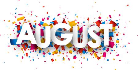August-Zeichen mit Farbe Konfetti. Vektor-Papier-Illustration. Standard-Bild - 45236911