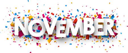 calendario noviembre: signo de noviembre con confeti de colores.