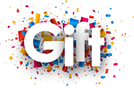 giftware: Gift sign with colour confetti. Vector paper illustration. Illustration