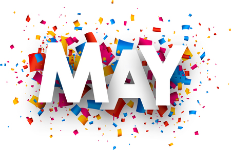 may: May sign with colour confetti. Vector paper illustration.