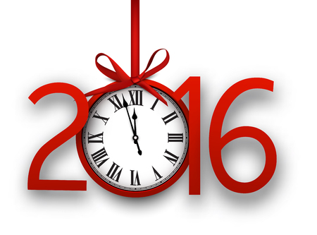 vintage clock: 2016 new year background with vintage clock. Vector illustration.