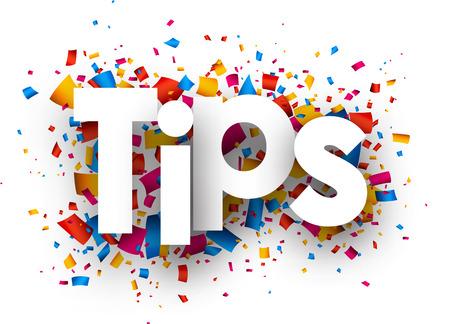 Tips with colour confetti. Vector paper illustration.