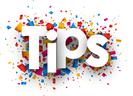 Tips with colour confetti. Vector paper illustration.