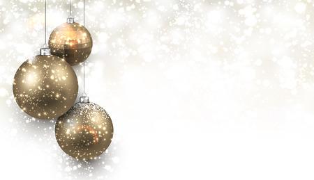 neige noel: Fond de No�l avec des boules d'or. Vector Illustration. Illustration