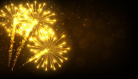 golden light: Festive gold firework background. Vector illustration. Illustration