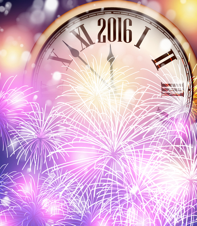 happy client: 2016 New Year background with clock. Vector paper illustration.