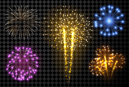 Festive fireworks set isolated on black background. Vector illustration.