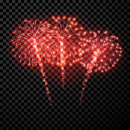 Feestelijke rode vuurwerk achtergrond. Vector illustratie.