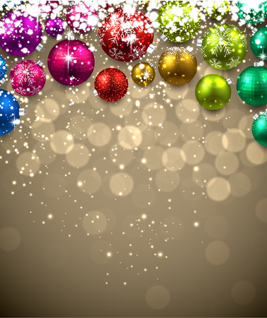 Christmas background with color balls. Vector Illustration. Illustration
